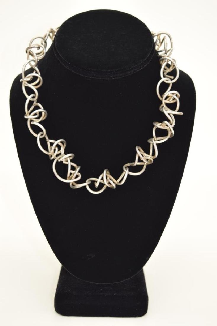 STERLING SILVER ABSTRACT SQUIGGLE LINK NECKLACE