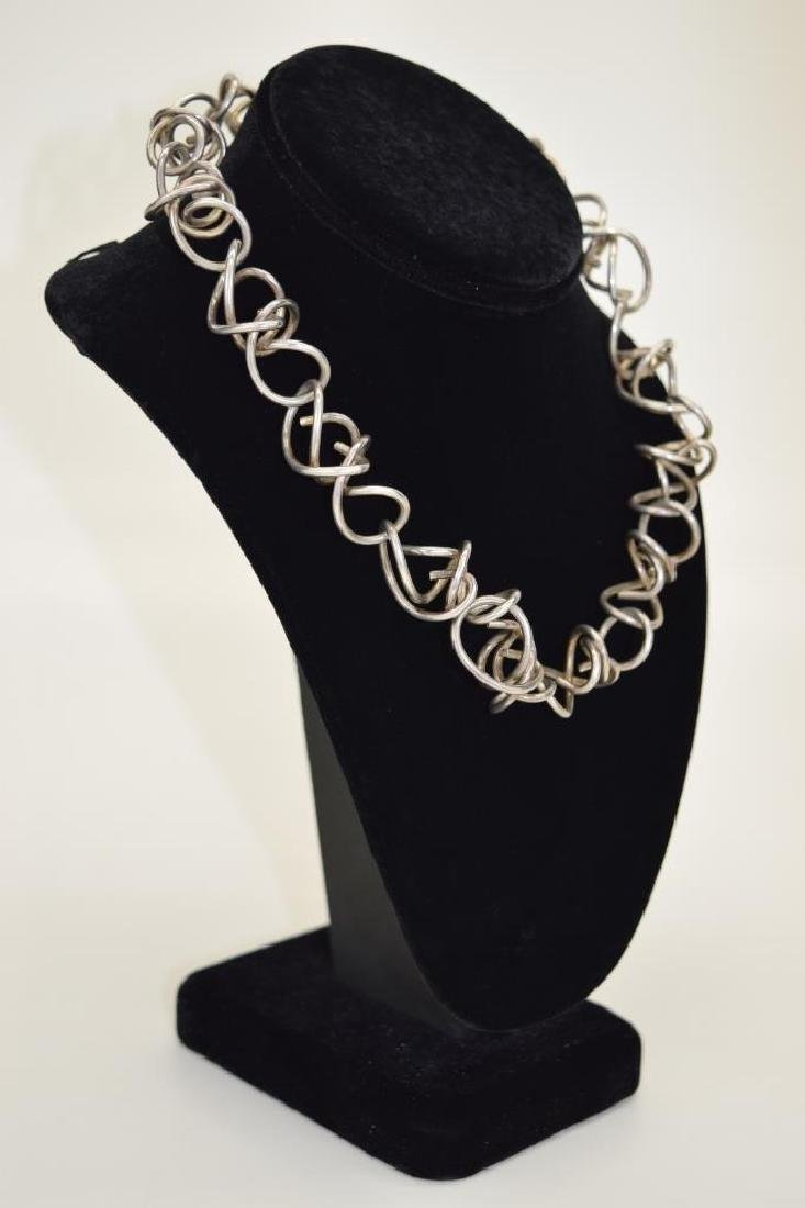 STERLING SILVER ABSTRACT SQUIGGLE LINK NECKLACE - 2