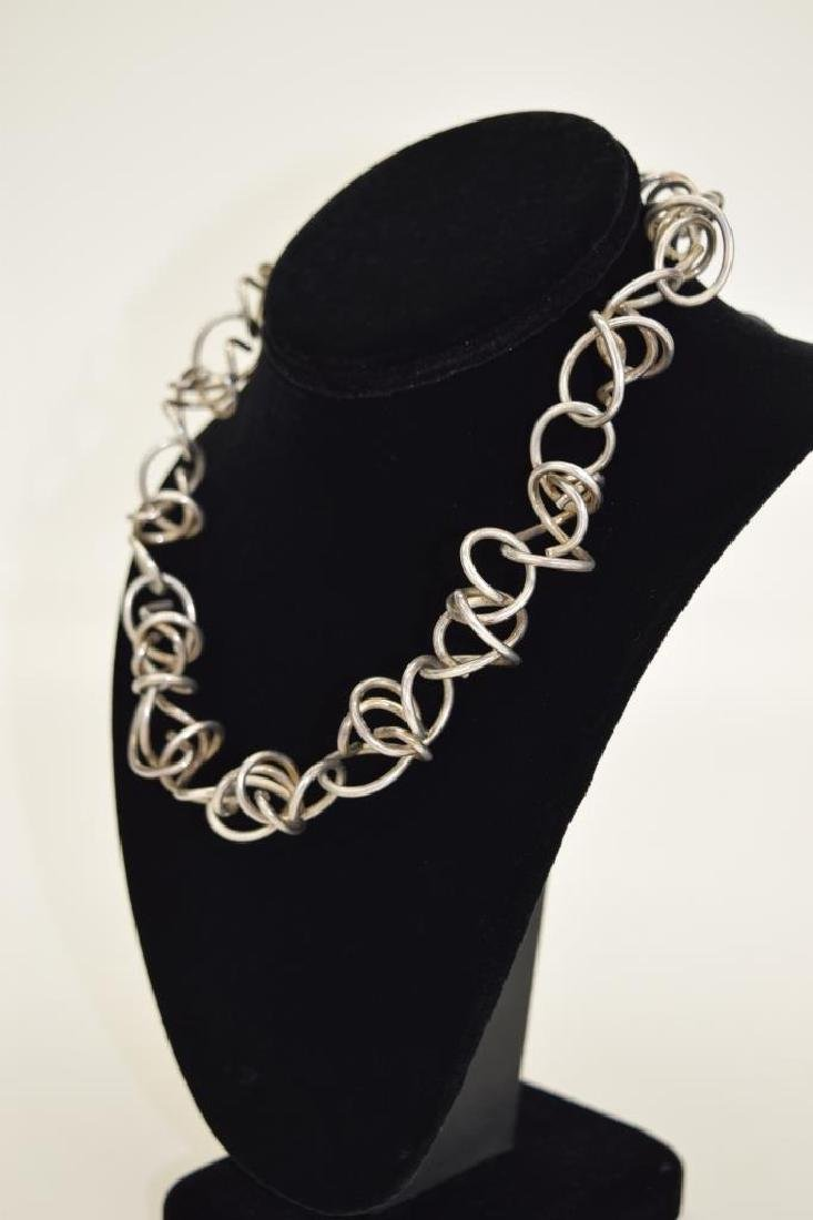 STERLING SILVER ABSTRACT SQUIGGLE LINK NECKLACE - 3