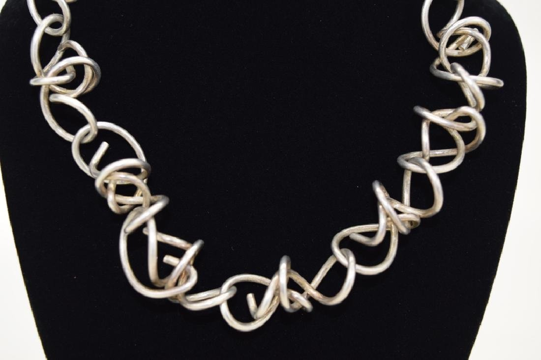 STERLING SILVER ABSTRACT SQUIGGLE LINK NECKLACE - 4