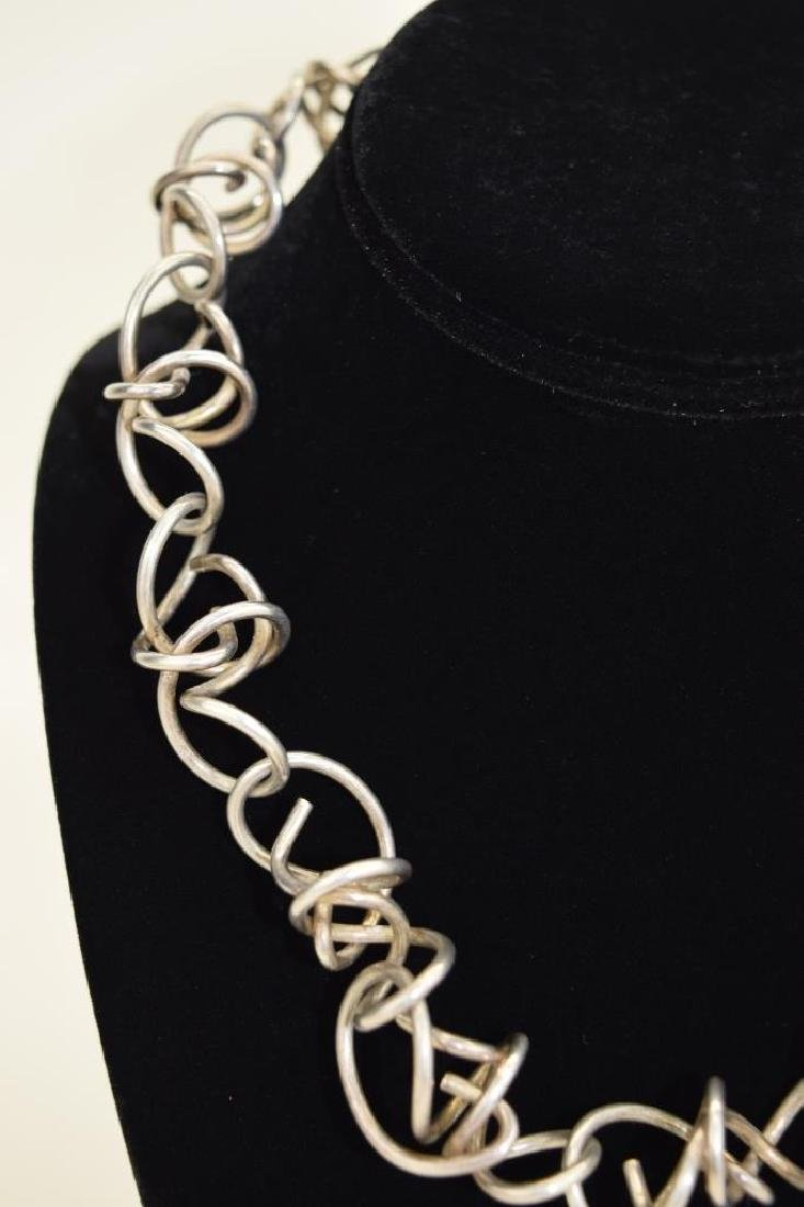 STERLING SILVER ABSTRACT SQUIGGLE LINK NECKLACE - 5