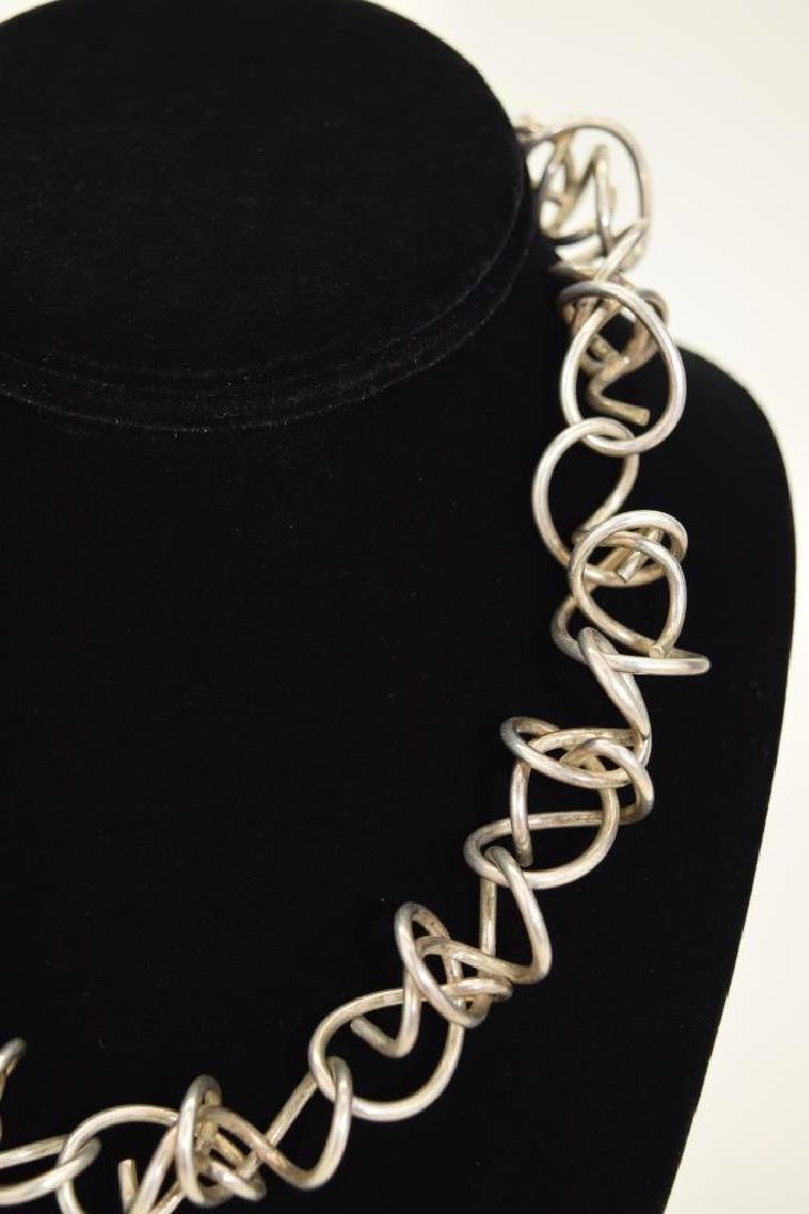STERLING SILVER ABSTRACT SQUIGGLE LINK NECKLACE - 6