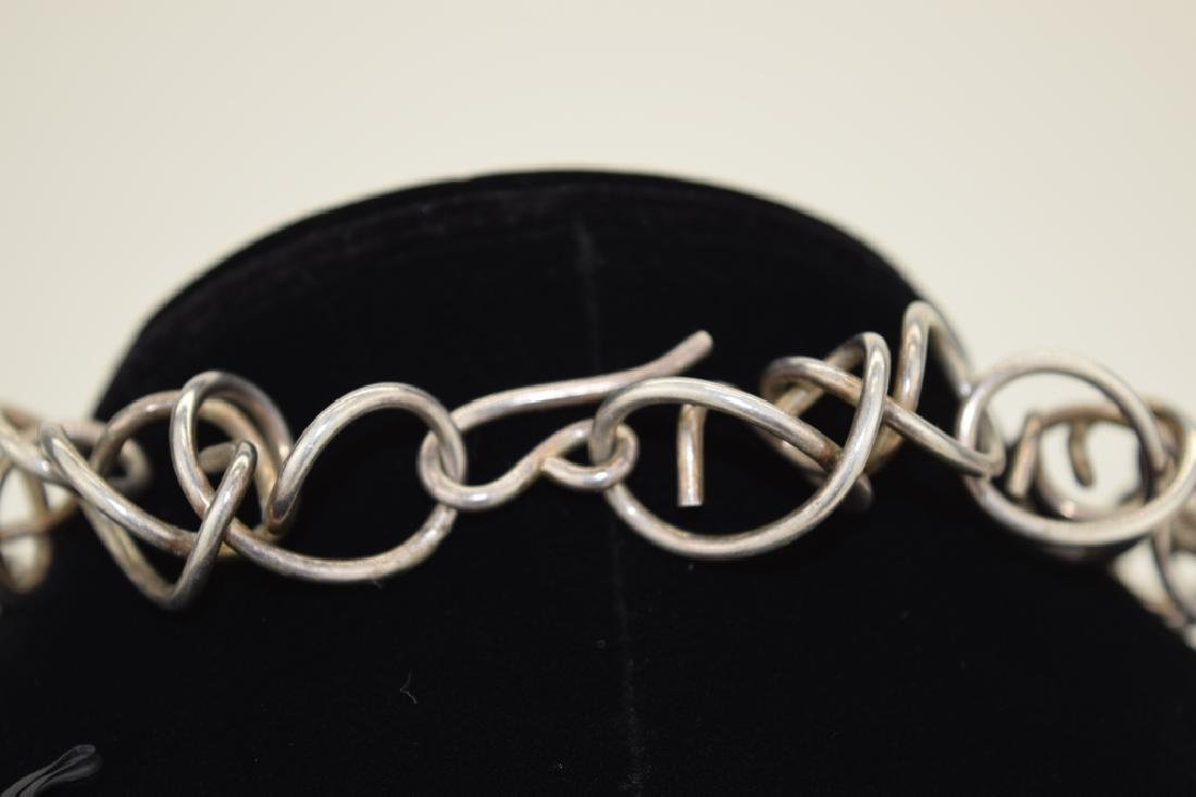 STERLING SILVER ABSTRACT SQUIGGLE LINK NECKLACE - 7
