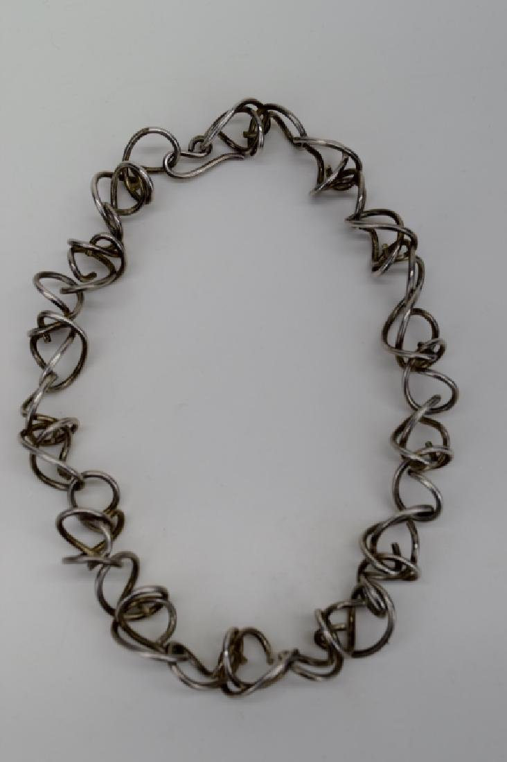 STERLING SILVER ABSTRACT SQUIGGLE LINK NECKLACE - 8
