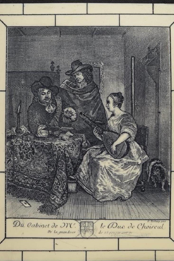 FRAMED ETCHING ON CELLULOID G. TERBURG MUSICAL