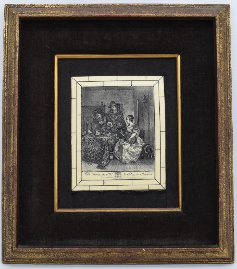 FRAMED ETCHING ON CELLULOID G. TERBURG MUSICAL - 2