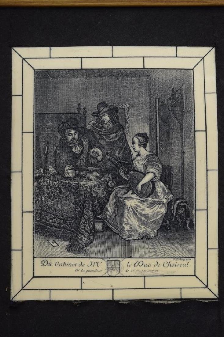 FRAMED ETCHING ON CELLULOID G. TERBURG MUSICAL - 3