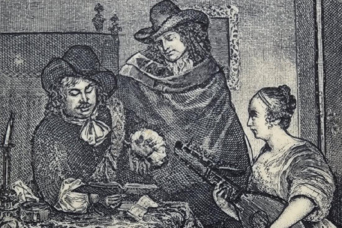 FRAMED ETCHING ON CELLULOID G. TERBURG MUSICAL - 7
