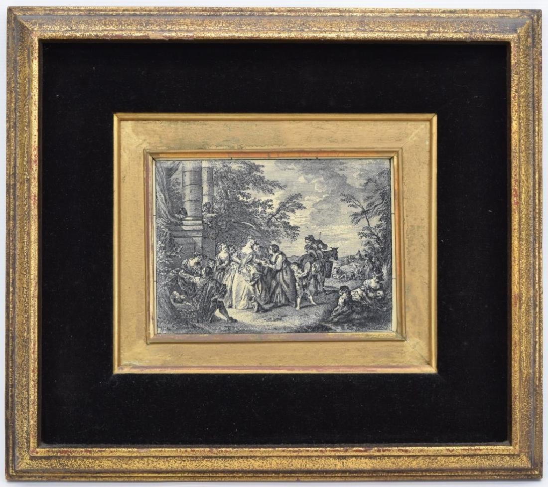 FRAMED ETCHING ON CELLULOID CONTINENTAL PAINTING - 2