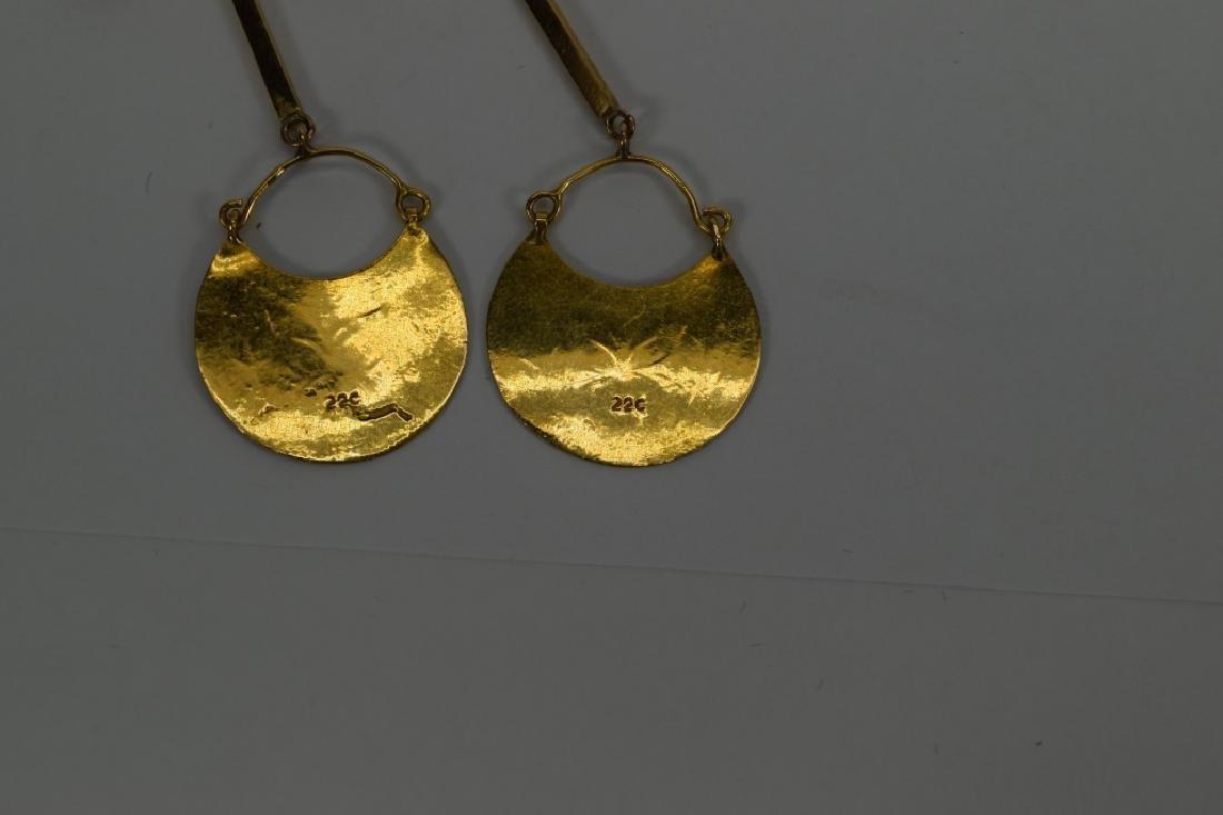22K & 14K GOLD MOROCCAN DANGLE EARRINGS - 10