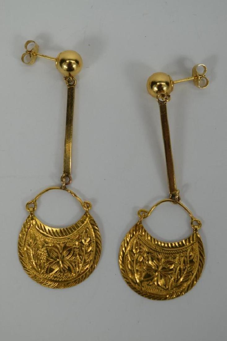 22K & 14K GOLD MOROCCAN DANGLE EARRINGS - 6