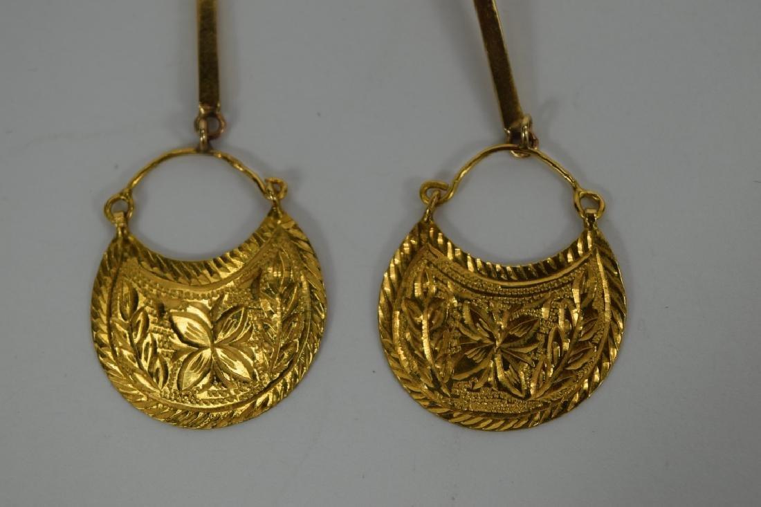 22K & 14K GOLD MOROCCAN DANGLE EARRINGS - 7