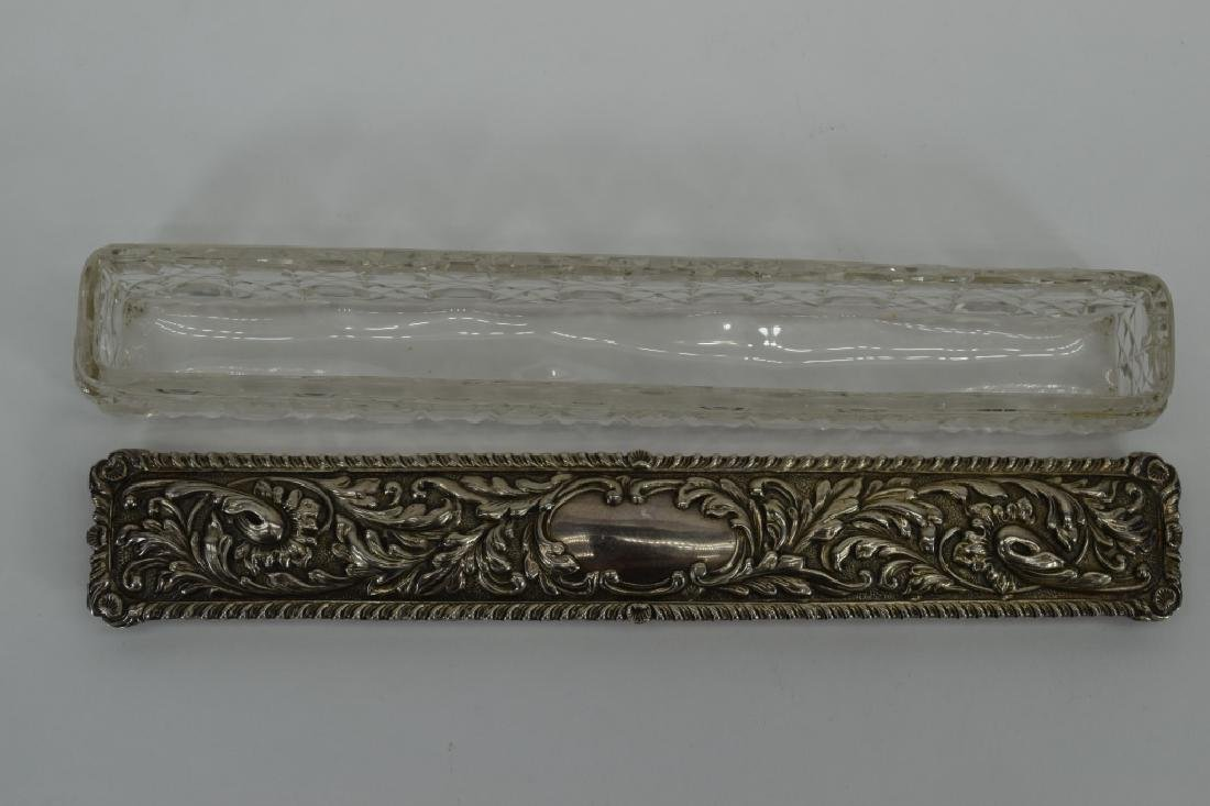 ENGLISH CUT CRYSTAL STERLING SILVER LONG BOX - 10