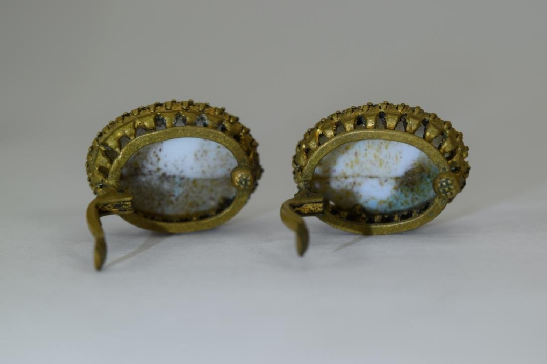 ANTIQUE GOLD METAL TURQUOISE CLIP-ON EARRINGS - 10