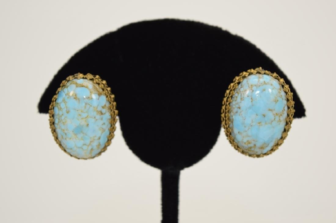 ANTIQUE GOLD METAL TURQUOISE CLIP-ON EARRINGS