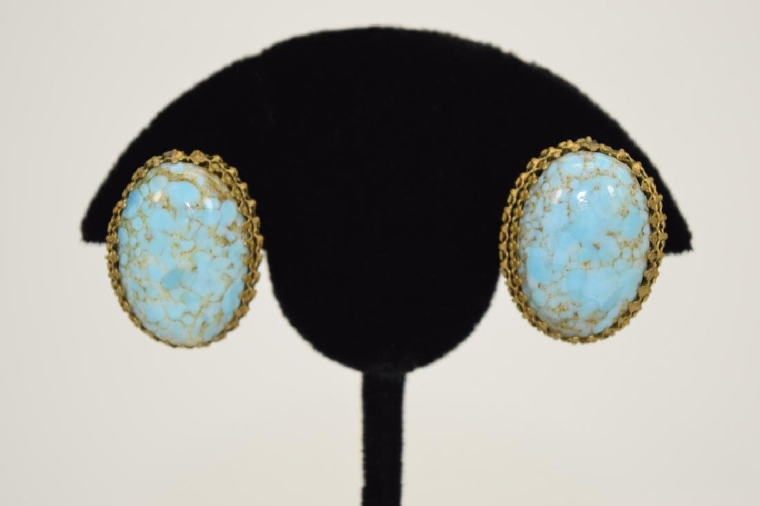 ANTIQUE GOLD METAL TURQUOISE CLIP-ON EARRINGS - 2
