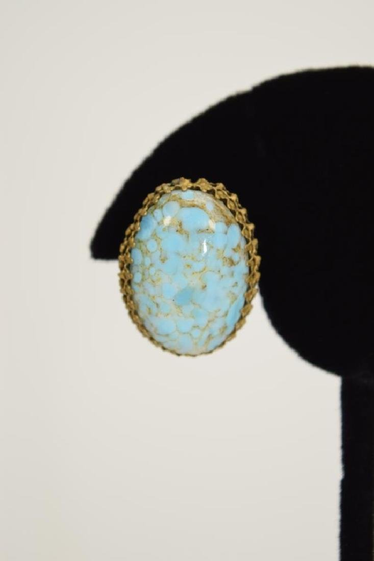 ANTIQUE GOLD METAL TURQUOISE CLIP-ON EARRINGS - 3