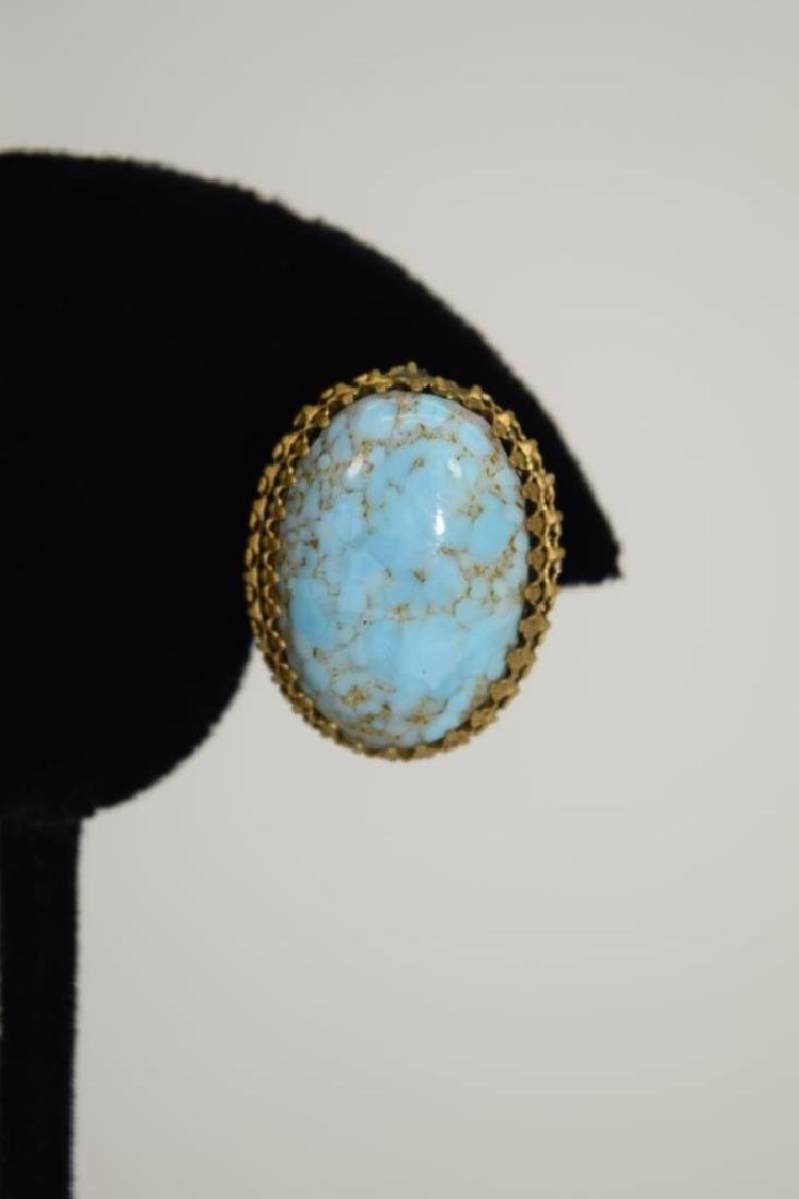ANTIQUE GOLD METAL TURQUOISE CLIP-ON EARRINGS - 4