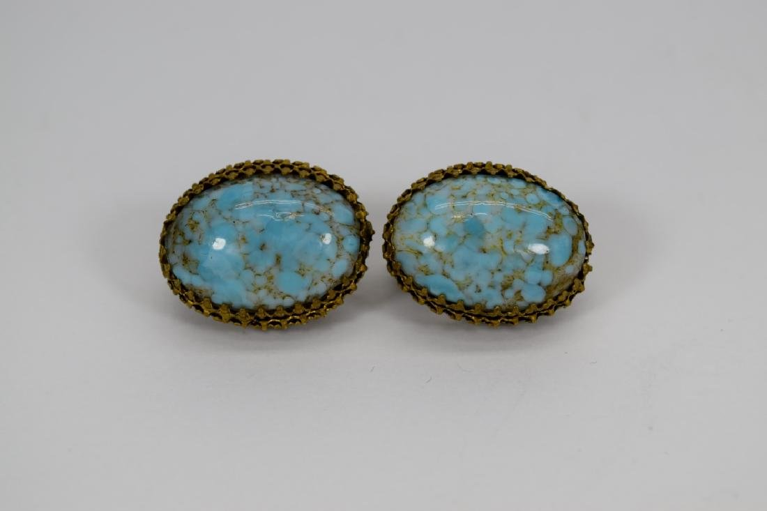 ANTIQUE GOLD METAL TURQUOISE CLIP-ON EARRINGS - 5