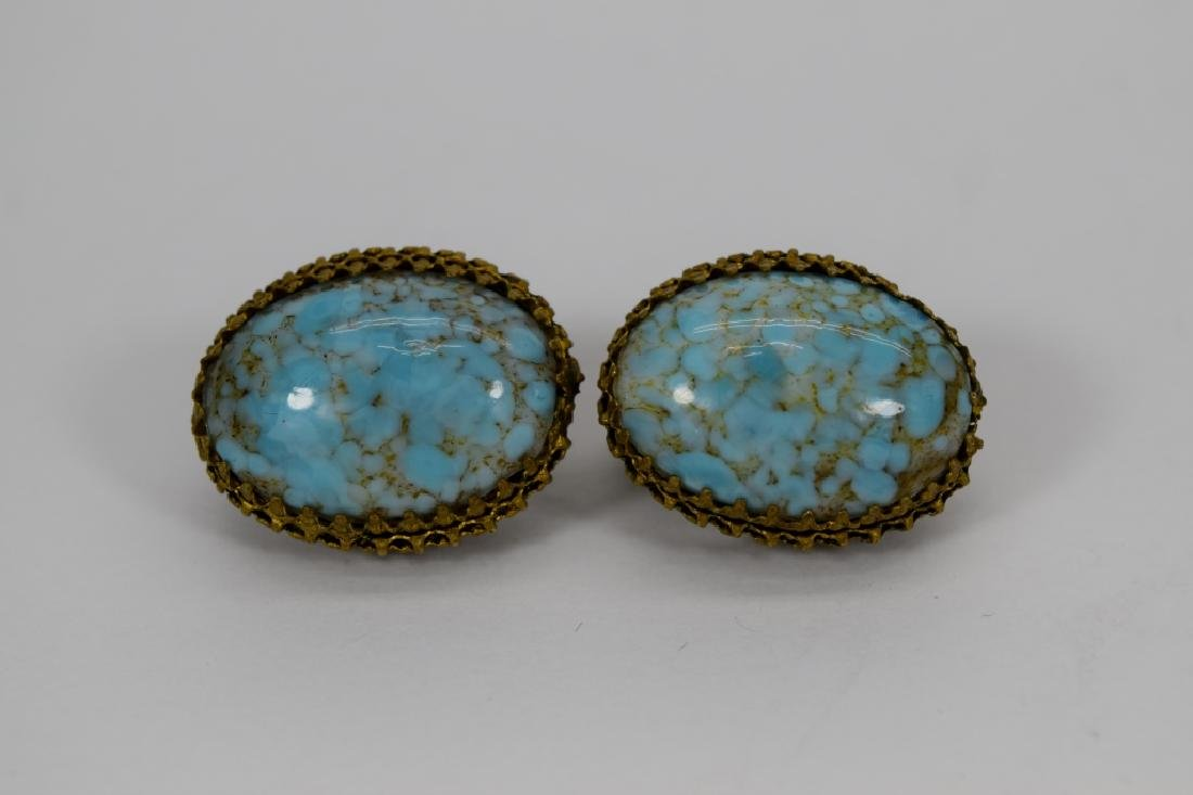 ANTIQUE GOLD METAL TURQUOISE CLIP-ON EARRINGS - 6