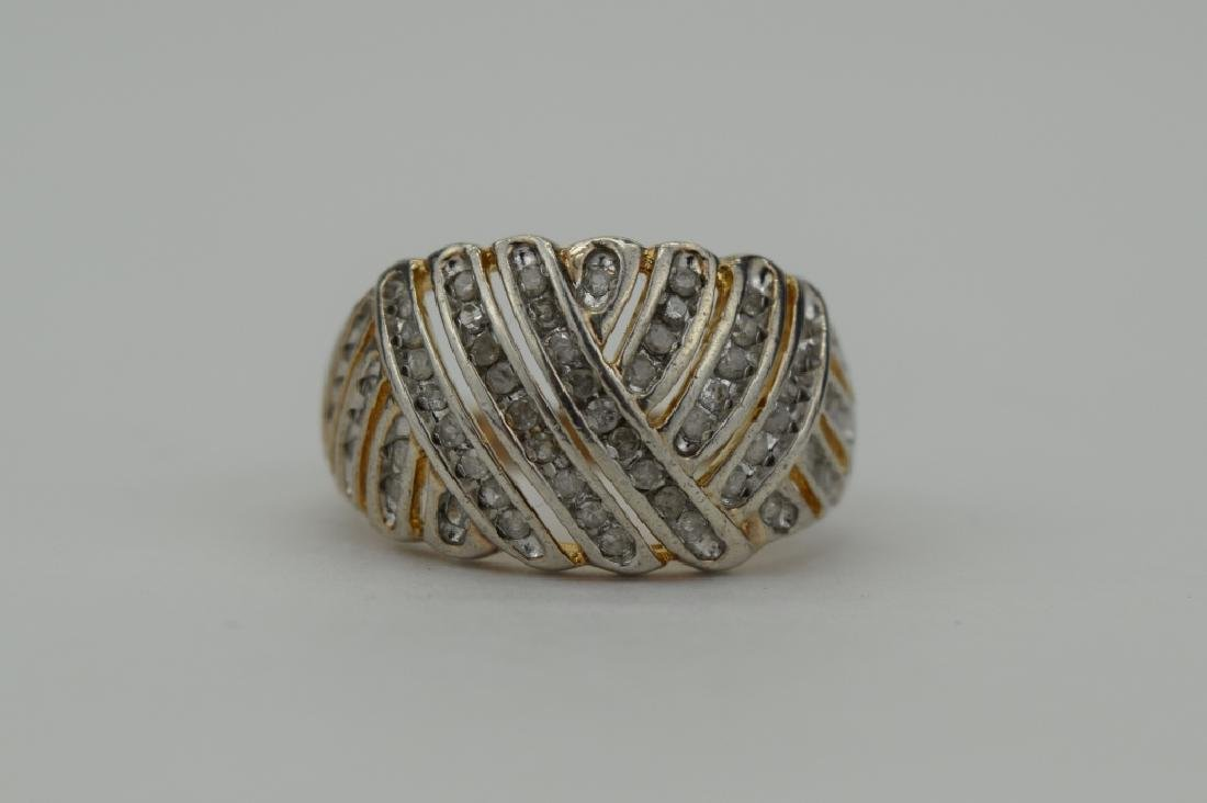 STERLING SILVER WOVEN DESIGN DIAMOND RING - 10