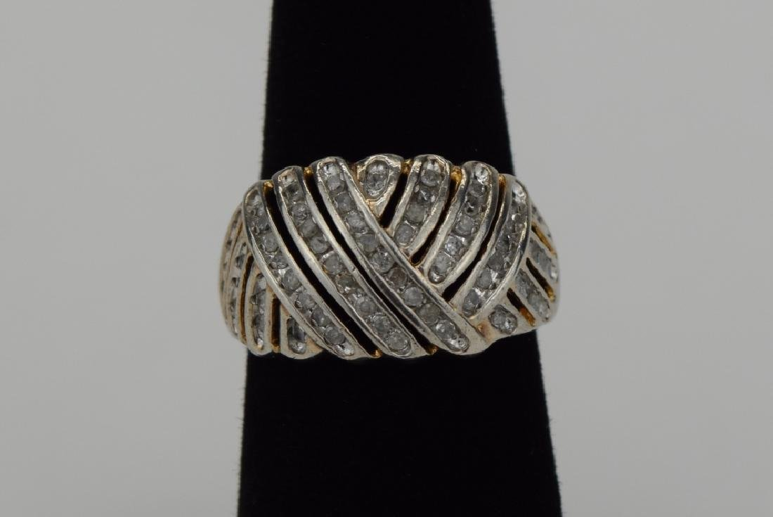 STERLING SILVER WOVEN DESIGN DIAMOND RING