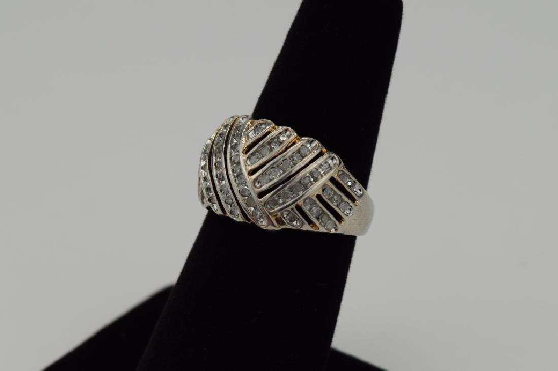 STERLING SILVER WOVEN DESIGN DIAMOND RING - 2