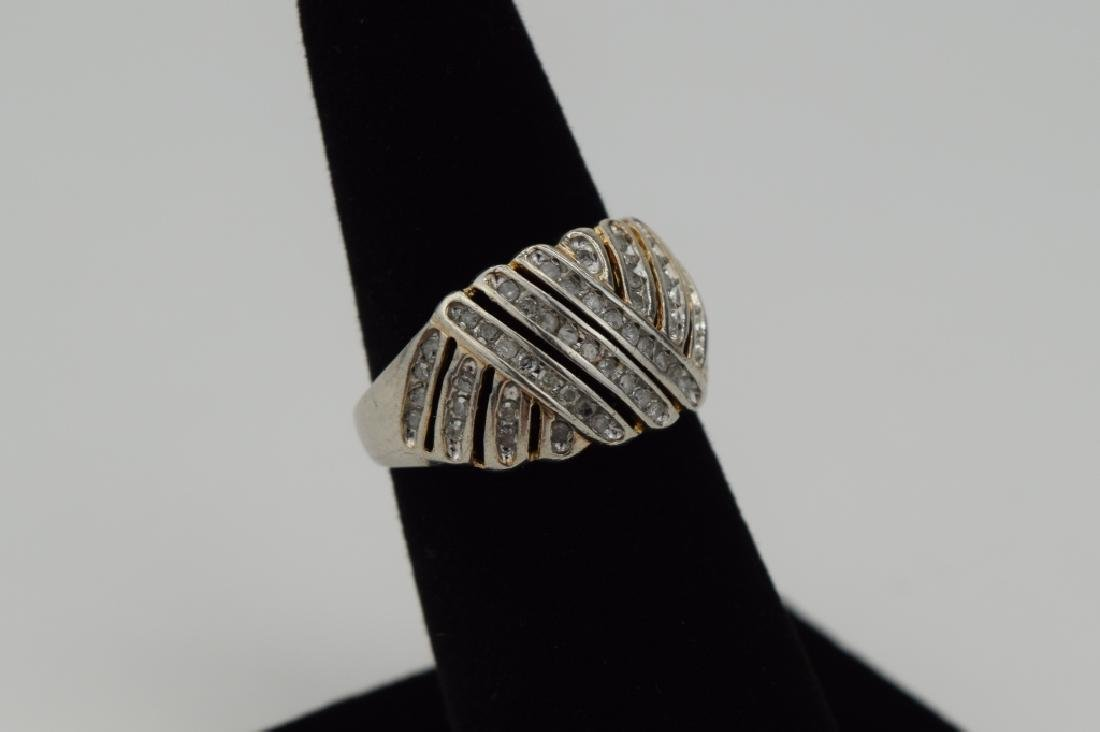 STERLING SILVER WOVEN DESIGN DIAMOND RING - 3