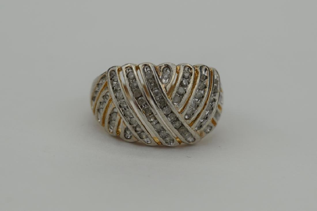 STERLING SILVER WOVEN DESIGN DIAMOND RING - 4