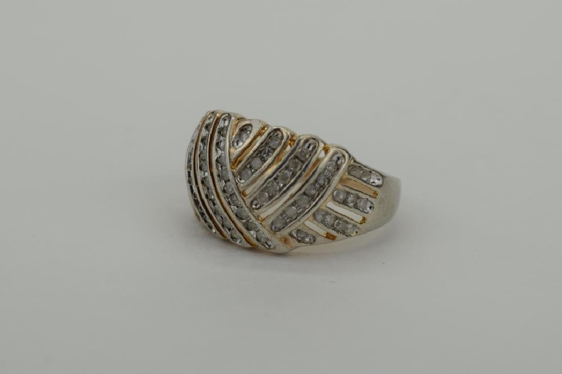STERLING SILVER WOVEN DESIGN DIAMOND RING - 5