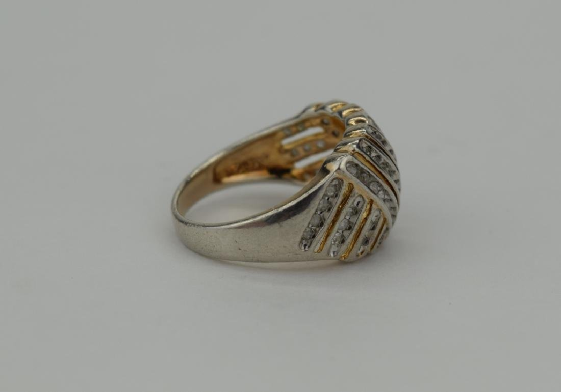 STERLING SILVER WOVEN DESIGN DIAMOND RING - 8