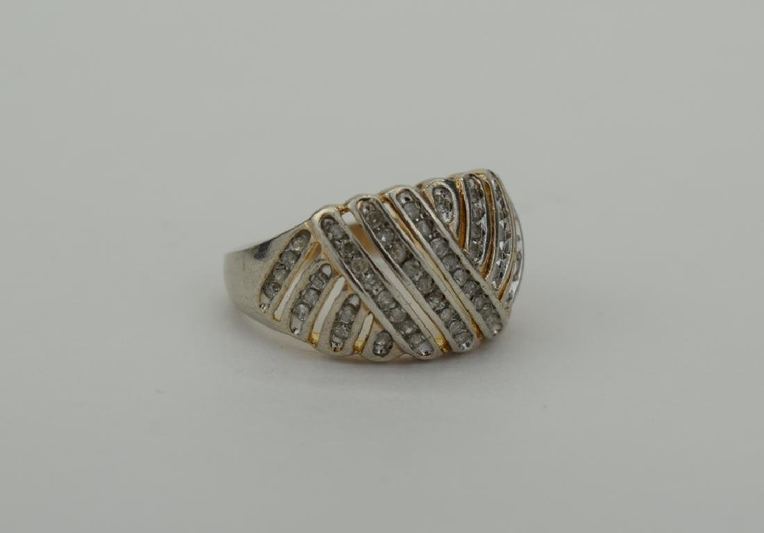 STERLING SILVER WOVEN DESIGN DIAMOND RING - 9