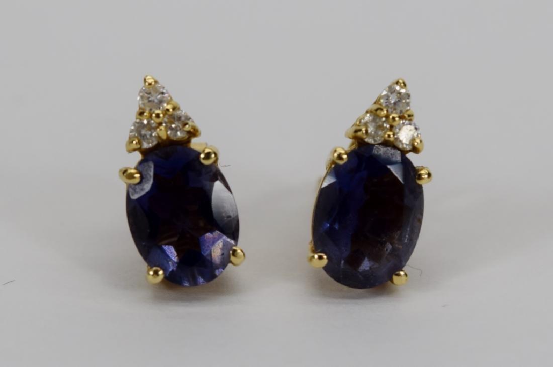 14K GOLD TANZANITE DIAMOND EARRINGS