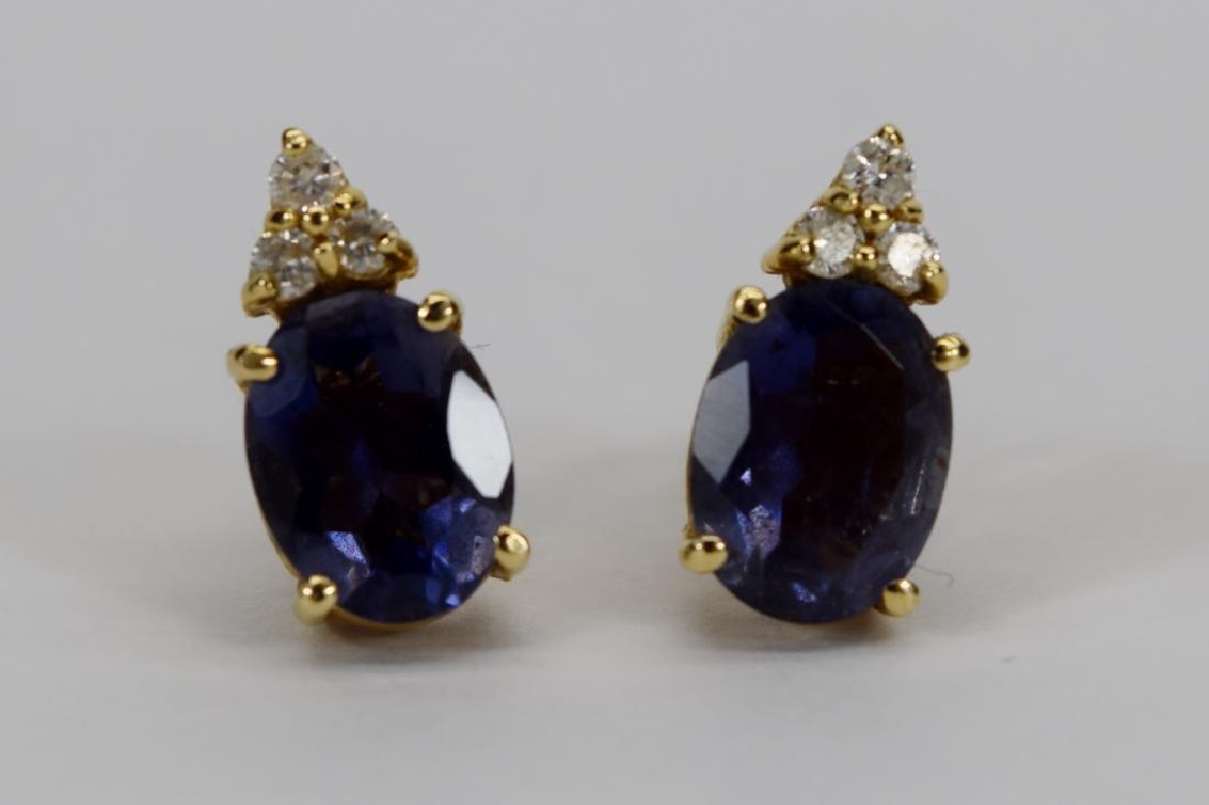 14K GOLD TANZANITE DIAMOND EARRINGS - 2