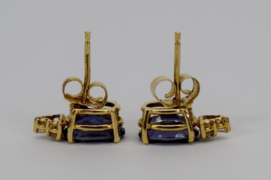 14K GOLD TANZANITE DIAMOND EARRINGS - 3