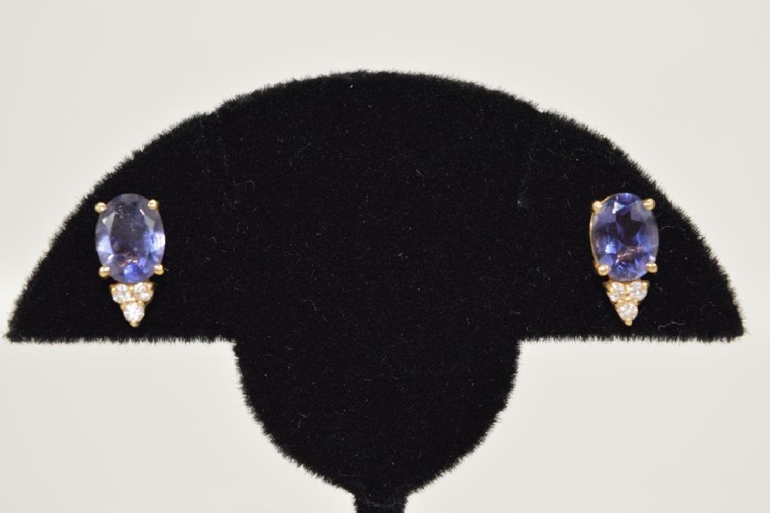 14K GOLD TANZANITE DIAMOND EARRINGS - 4