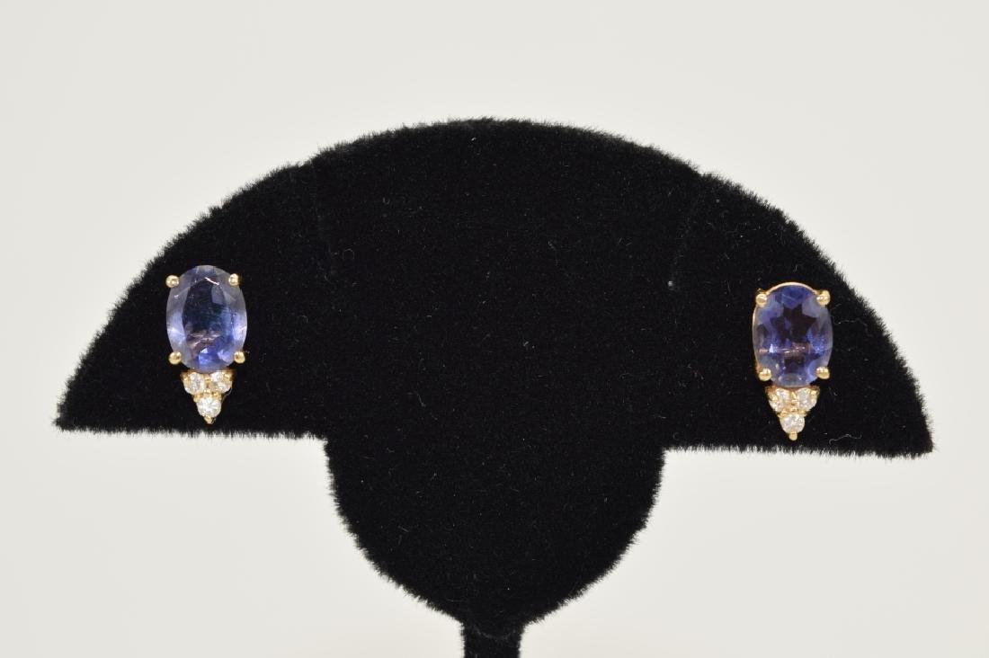14K GOLD TANZANITE DIAMOND EARRINGS - 5