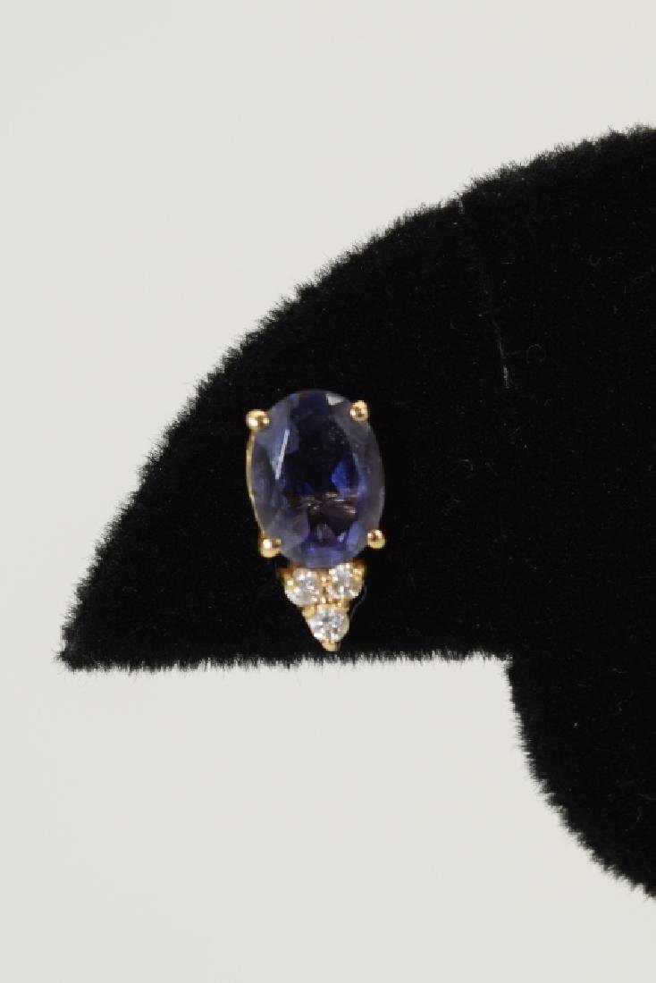 14K GOLD TANZANITE DIAMOND EARRINGS - 6