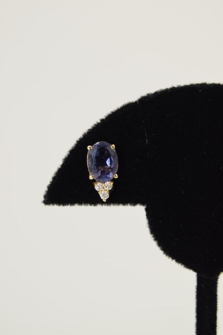 14K GOLD TANZANITE DIAMOND EARRINGS - 8
