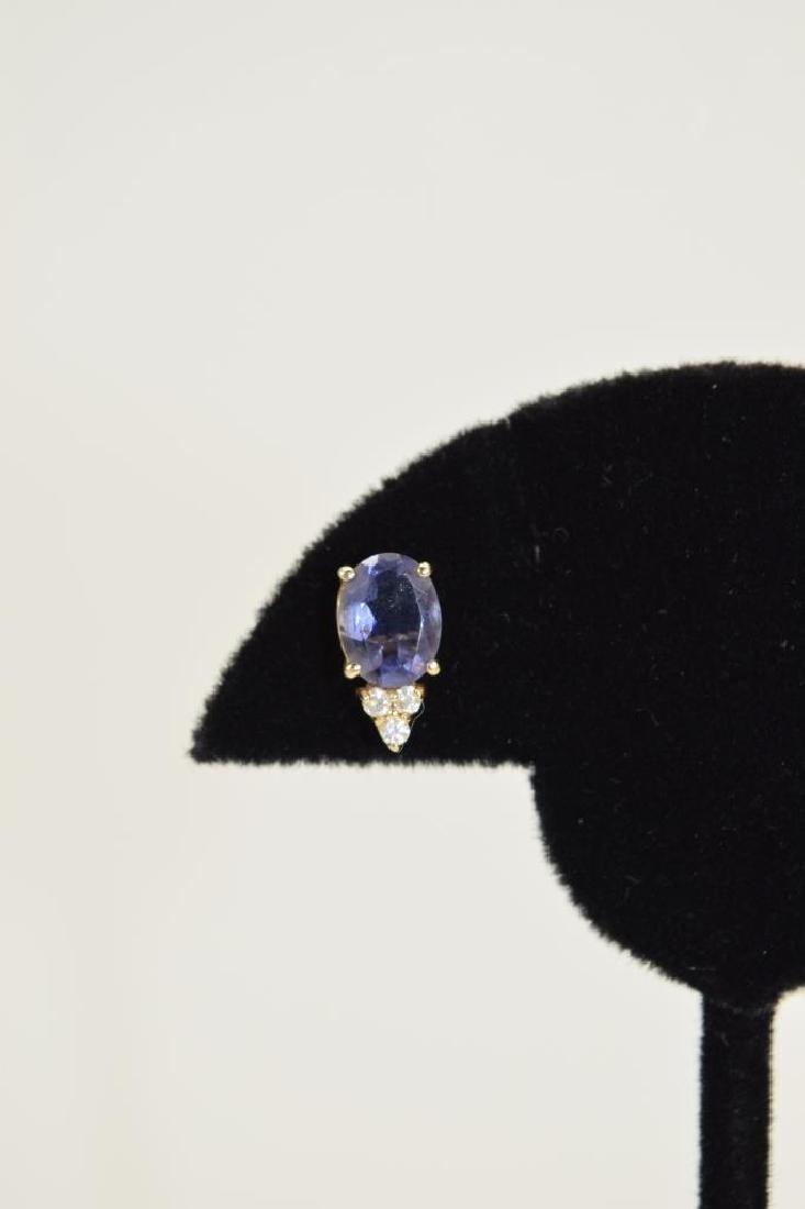 14K GOLD TANZANITE DIAMOND EARRINGS - 9