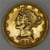 1882 LIBERTY HALF EAGLE $5 AMERICAN GOLD COIN