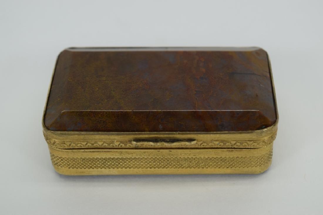 ANTIQUE GOLDEN MOSS AGATE VICTORIAN SNUFF BOX