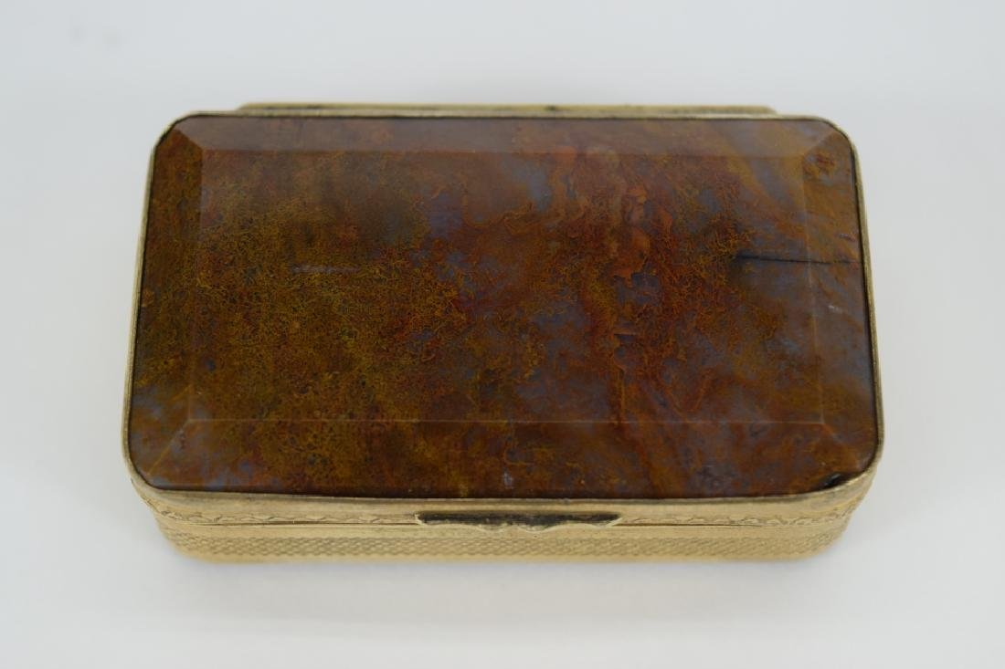 ANTIQUE GOLDEN MOSS AGATE VICTORIAN SNUFF BOX - 2