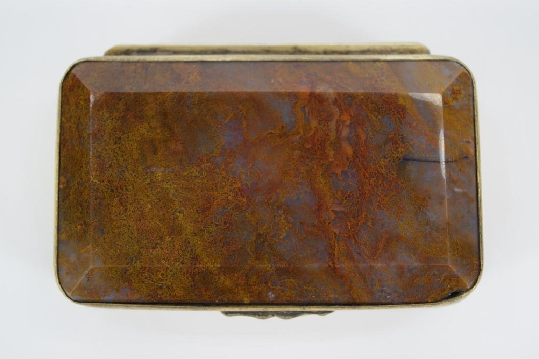 ANTIQUE GOLDEN MOSS AGATE VICTORIAN SNUFF BOX - 3