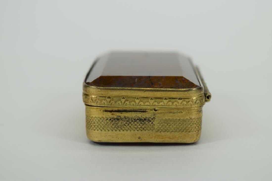ANTIQUE GOLDEN MOSS AGATE VICTORIAN SNUFF BOX - 5