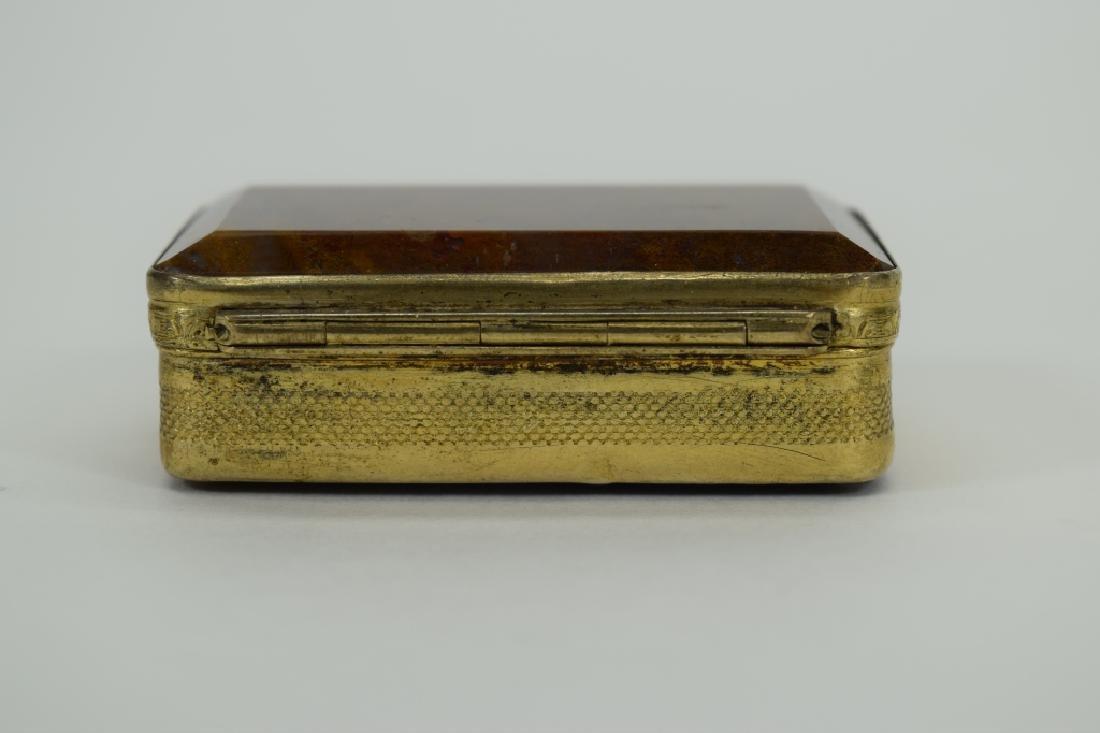 ANTIQUE GOLDEN MOSS AGATE VICTORIAN SNUFF BOX - 6