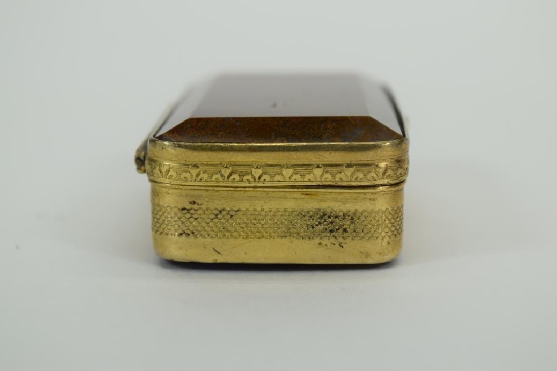 ANTIQUE GOLDEN MOSS AGATE VICTORIAN SNUFF BOX - 7