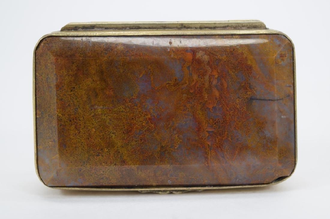 ANTIQUE GOLDEN MOSS AGATE VICTORIAN SNUFF BOX - 8
