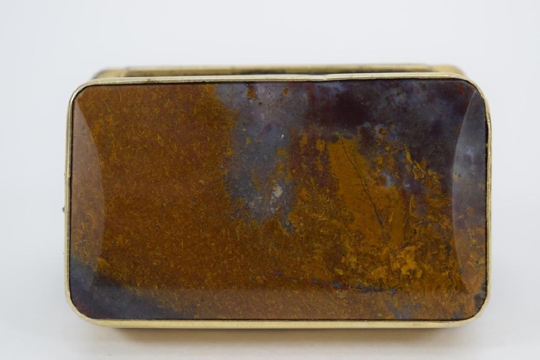 ANTIQUE GOLDEN MOSS AGATE VICTORIAN SNUFF BOX - 9