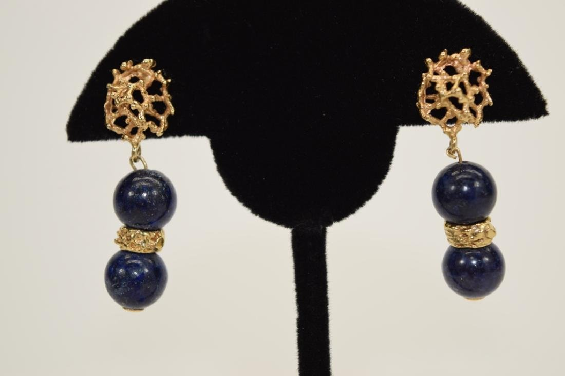 PAIR 14K GOLD LAPIS LAZULI EARRINGS